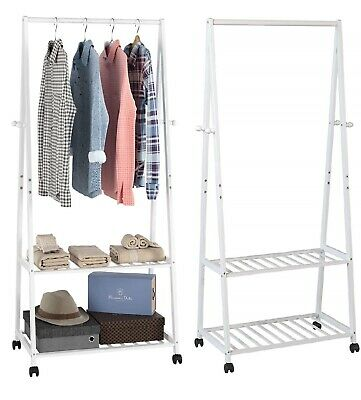 Bamboo Clothes Rail Hanging Garment Rack Stand & Shoe Storage Shelf with wheels