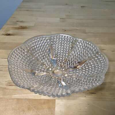 Vintage Depression Glass Clear Bubble 4-Footed Bowl Candy Dish w/ Scalloped Rim