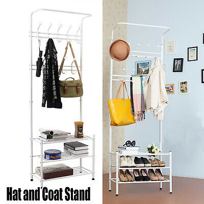 18 Hook Metal Hat and Coat Stand Clothes Shoes Rack Umbrella Steel Stand Rail