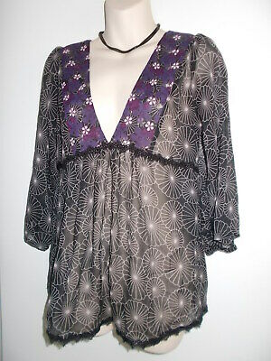 Jeans West Black Purple White Geo Floral Sheer Boho Floaty Peasant Top - Size 12