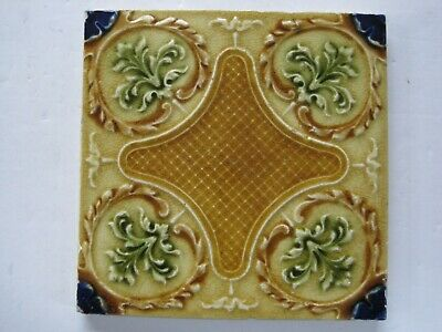 ANTIQUE RELIEF MOULDED AND MAJOLICA GLAZED AESTHETIC TILE - H. RICHARDS - c1901