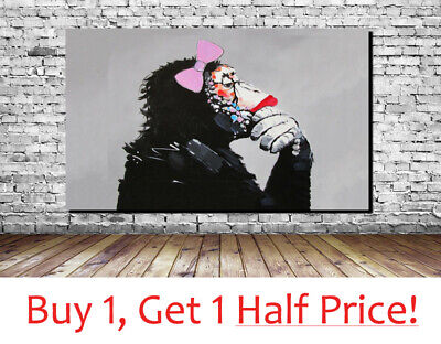 BANKSY MONKEY WITH BOW : CANVAS WALL ART PRINT - : Banksy Gorilla Picture