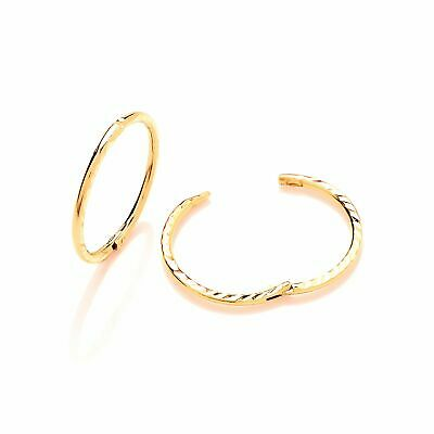 9ct Gold Hinged Sleepers with Diamond Cut Pattern 12mm 14mm 16mm
