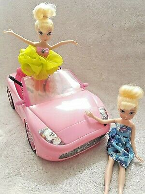 Barbie Car Sportster Convertible 2010 Pink Car With Two Disney Barbie Dolls Xmas
