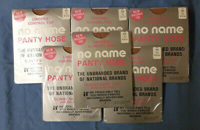No Name Panty Hose COCOA CREAM  Vintage Hosiery New, 6 Pairs, Small