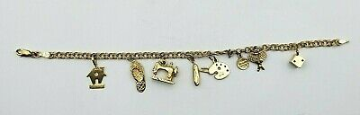 Vintage 14KT Solid Yellow Gold Charm Bracelet Estate Antique