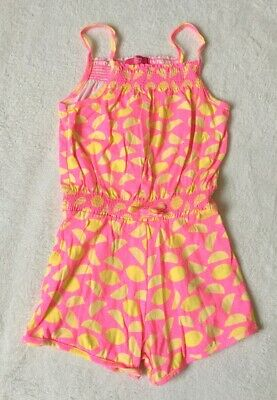 ***Primark girls Pink printed cotton shorts playsuit 6-7 years VGC***