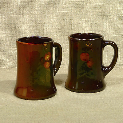 2 Yellow Ware Mugs Hand Painted Fruit Unmarked ? Rozane Roseville Owens Weller?