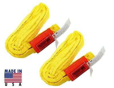 2 USA DOMESTIC 4' YELLOW Endless Round Lifting Sling Crane Rigging Recovery