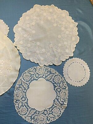 Vintage Doilies Lot White Embroidered 5 pc
