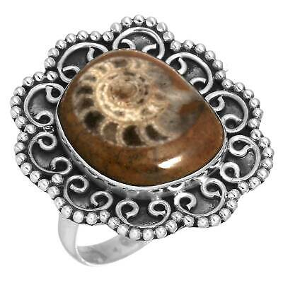 Solid 925 Sterling Silver Fashion Ring Ammonite Brown Fossil Size 9.5 HB44972