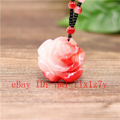 Natural Red White Chinese Jade Rose Flower Pendant Beads Necklace Jadeite Amulet