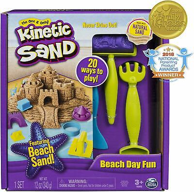 The One and Only Kinetic Sand, Beach Day Fun Playset with Castle Molds and Tools