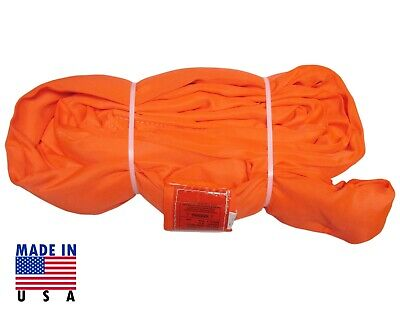 USA DOMESTIC 8' ORANGE Endless Round Lifting Sling Crane Rigging Recovery