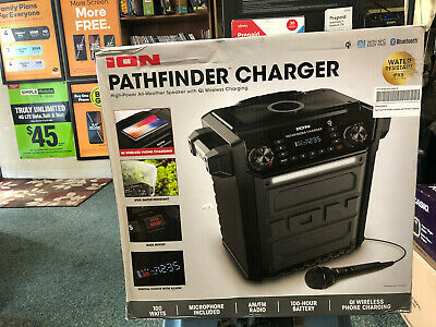 ION Pathfinder All-Weather Speaker with Qi Wireless Charging - Black
