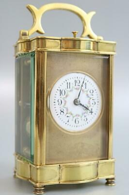 PRETTY ANTIQUE FRENCH CARRIAGE CLOCK 8 day STRIKING & REPEATING gilt masked dial