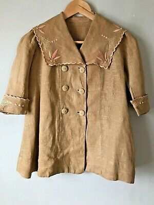 Antique Edwardian Young Girls Linen Embroidered Jacket
