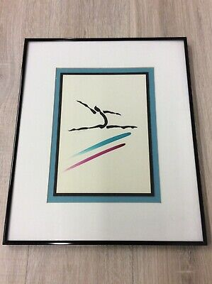 Abstract Figural Dancer Watercolor Signed Framed Art 1988--10X7