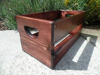 "Hand Built 45rpm 7"" inch Record Vinyl Crate Storage Solid Wood - Red Mahogany"