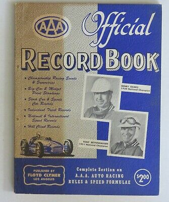 Official AAA Record book by Floyd Clymer  Pre USAC auto racing records