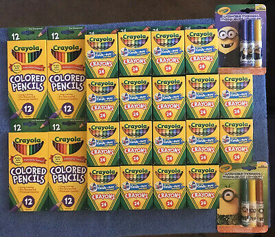 Crayola Lot - Crayons, Colored Pencils, Minions Washable Markers School Stocking