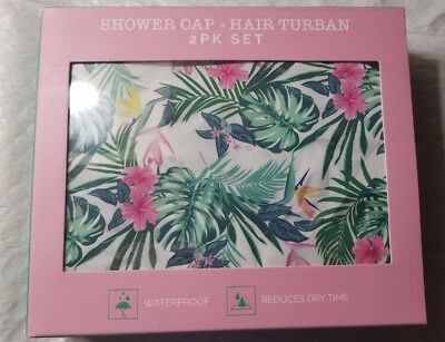 Shower cap and Hair turban set new in box pink flower
