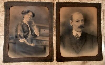 Pair Of Antique Edwardian Portrait Enchanced Photographs In Wooden Mounts