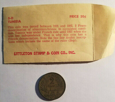 1941 Tunisia 2 Francs - Tunisie - Littleton Coin Company Vintage Packaging