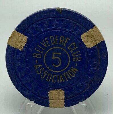 Vintage Belvedere Club Association Illegal Gambling 5 Casino Chip Hot Springs AR