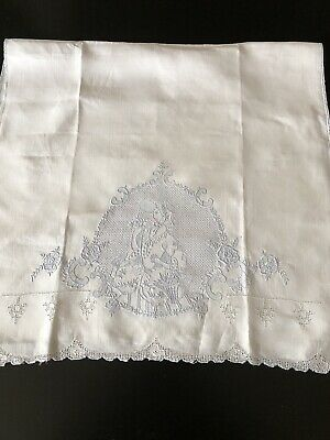 Antique Linens - Appenzell Tea Towel With Lady In Period Dress