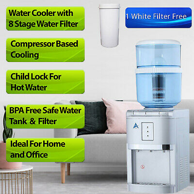 Water Cooler Hot Cold 8 Stage KDF Water Filter Bench Top BONUS 1 White Filter AU