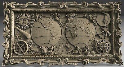 3D STL Model # MAP OF THE WORLD 2 # for CNC 3d Printer Engraver Carving Aspire