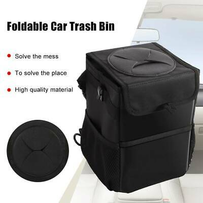 Collapsible Car Trash Can Waterproof Fabric Trash Bin Hanging Box Black