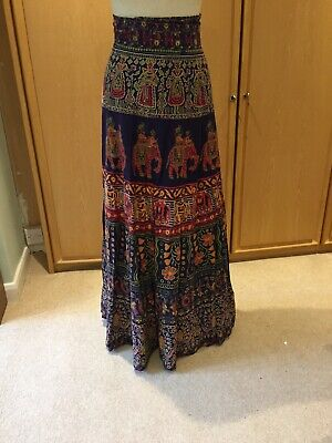Vintage 100% Indian Cotton Oasis Trading Ethnic Wrap Skirt Full Maxi Hippie Boho
