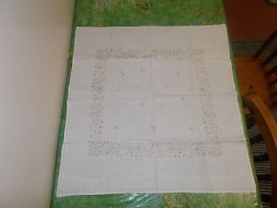Vintage White table cloth square embroidered flowers 71cm Scandinavia