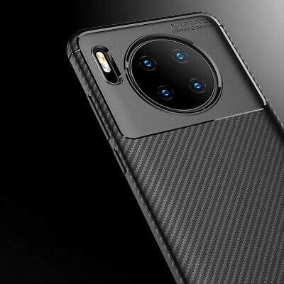 For Huawei Mate 30 P30 Pro Honor 20 Slim Fiber Carbon Silicone Rugged Case Cover