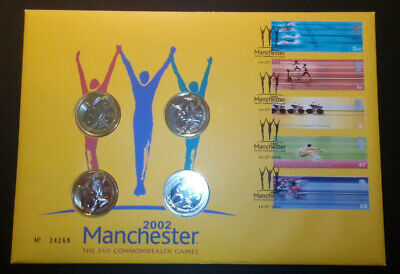 GB 2002 Commonwealth Games Manchester BU 4x £2 Coin Royal Mint Cover PNC FDC