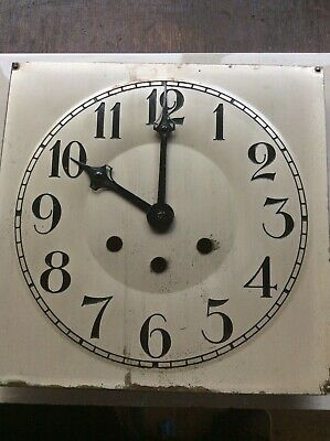 "Antique  Metal Clock Dial- 8-5/8""  Square With Mounting Plate & Clock Hands"