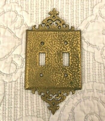 Amazing Mid-Century Modern Hammered Brass Double Light Switch Plate