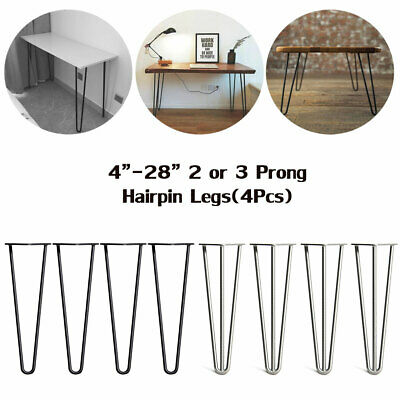 "4X Metal Hairpin Rod Table Desk Iron Legs Heavy Duty Furniture Industrial 4""-28"""