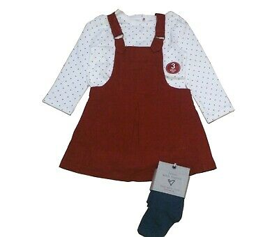 Next Girls' Garnet Brown Linen Pinafore 3 Pc Set With Tights Various Size