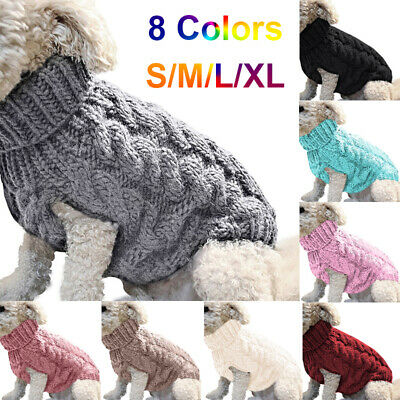 Grey Pet Dog Warm Jumper Sweater Clothing Puppy Cat Knit Coat Costume UK