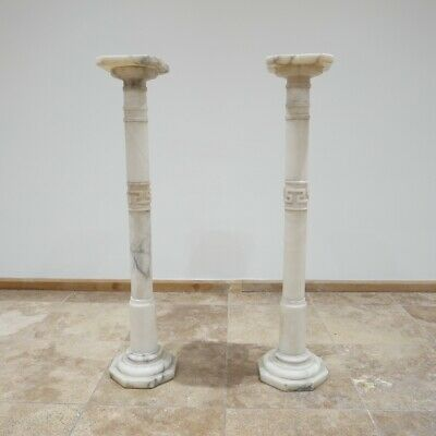 Antique Pair of Early 20th century Marble or Alabaster Columns