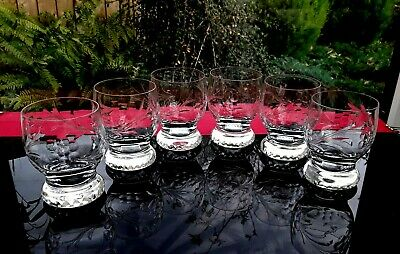 Absolutely Fabulous 6 Cut Crystal Glasses Gin & Tonic Whisky Lo Ball Tumblers