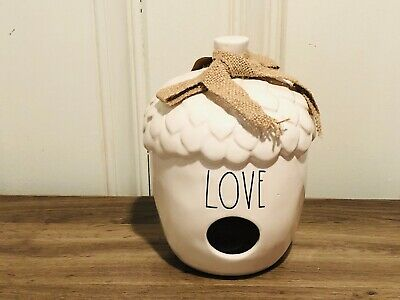 Rae Dunn Christmas Collection By Magenta Ceramic LOVE Acorn Birdhouse VHTF