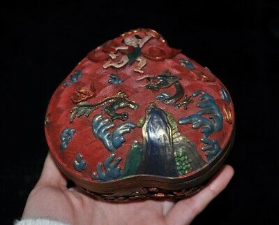 Chinese lacquerware wood Carving Na upbraid Boy Dragon Jewelry Box storage Boxes
