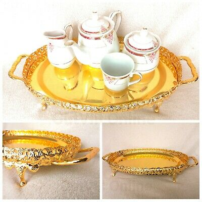 Gold Oval Plated Indian Round Tea Tray Plate Gallery Paandan Paan Leaf Italian