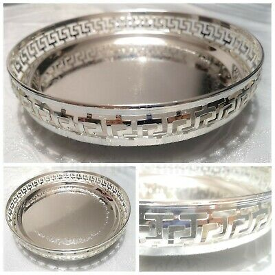 Silver Plated Indian Round Gallery Tray Plate Egypt Paan Leaf Tea Tray Biscuit