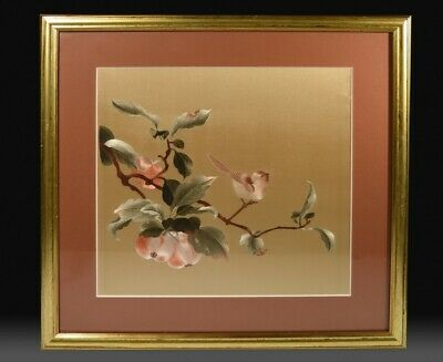 Stunning Vintage Japanese Embroidered Pictorial Silk Panel - Songbird & Fruits.