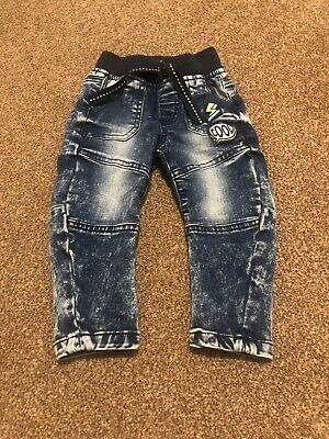 Denim Co blue denim cool thunder patch jeans trousers baby boys 9-12 months